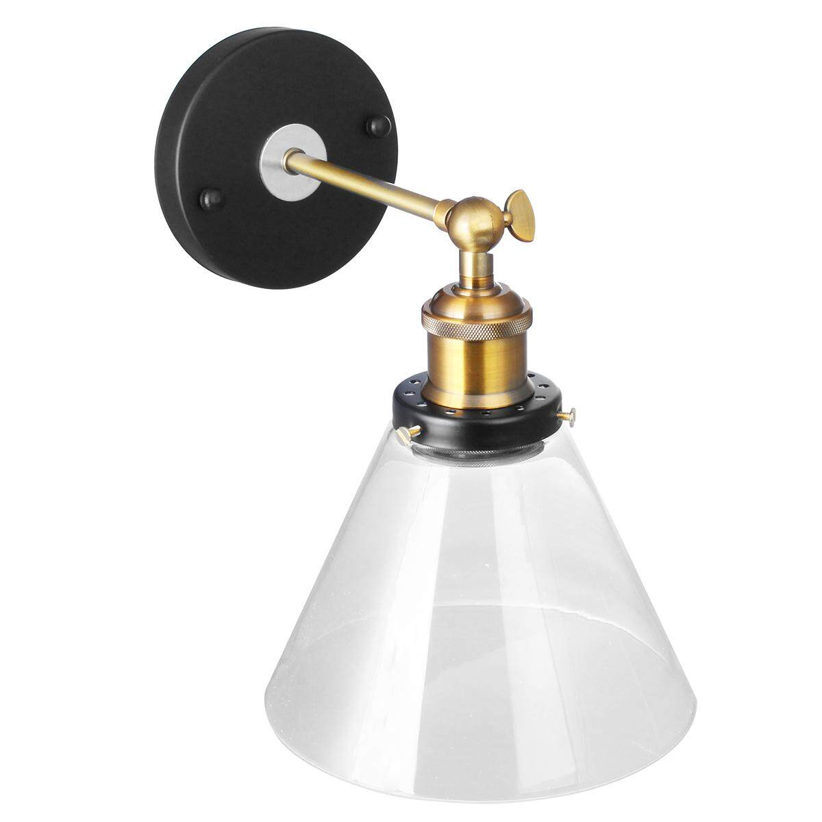 Vintage Industrial Glass Wall Lamp Transparent Glass Edison Bulb Wall Triangle