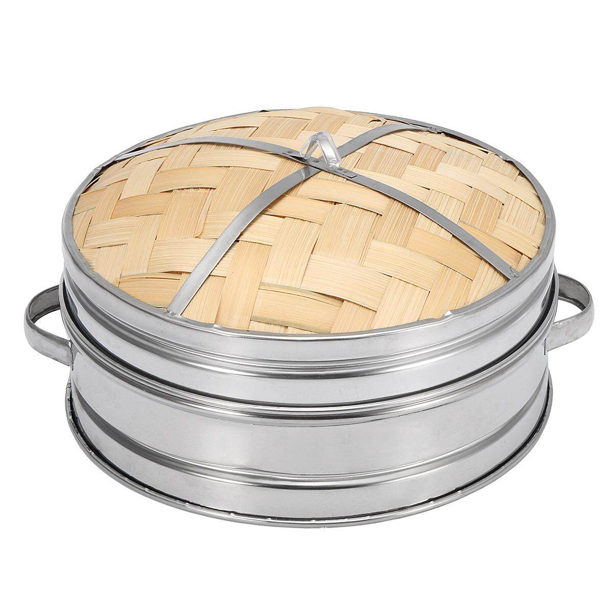 Bamboo Steamer Kitchen Cookware Basket Cooker Set Stainless Steel Lid Cook Tool By Glimmer.