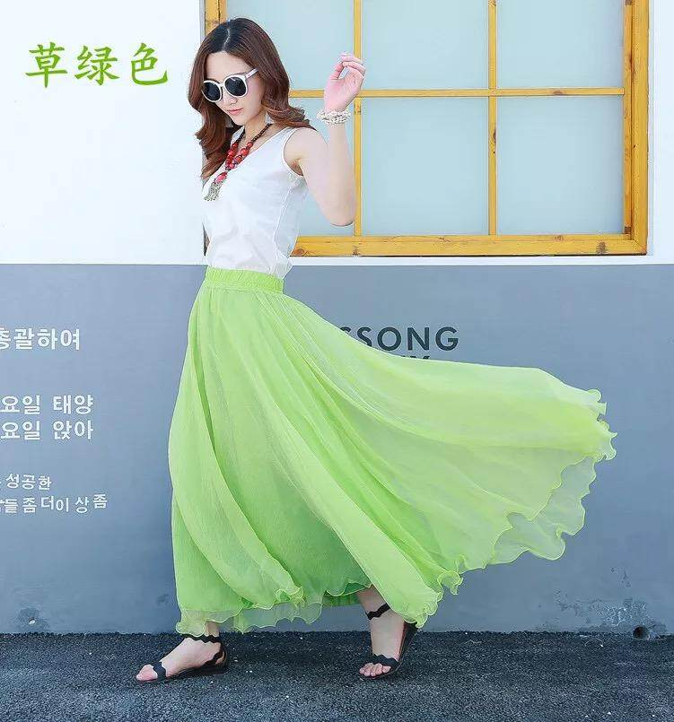 Green colour Plus size chiffon, long skirt for ladies