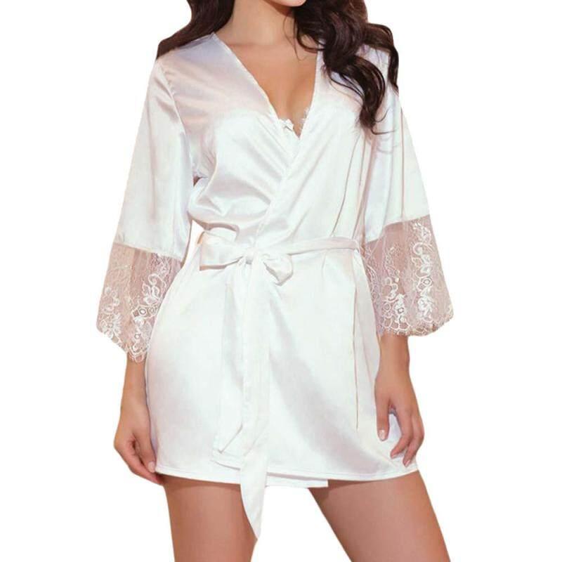Nơi bán Áo Ren nữ Miếng Dán Cường Lực Tay Dài Váy Ngủ Kimono Satin Áo Choàng Màu Đen