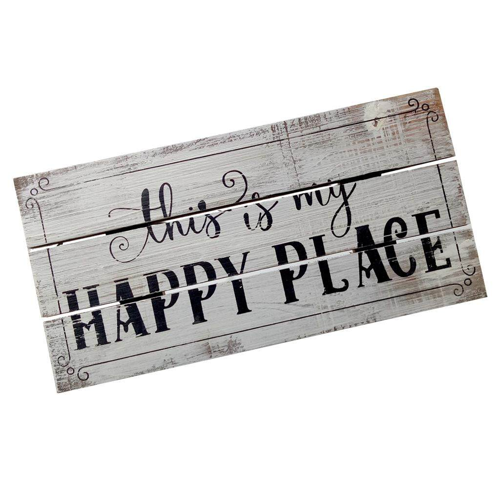 """BolehDeals Vintage Wooden Plaque """"this is my HAPPY PLACE"""" Shabby Chic Rustic Wood Signs"""
