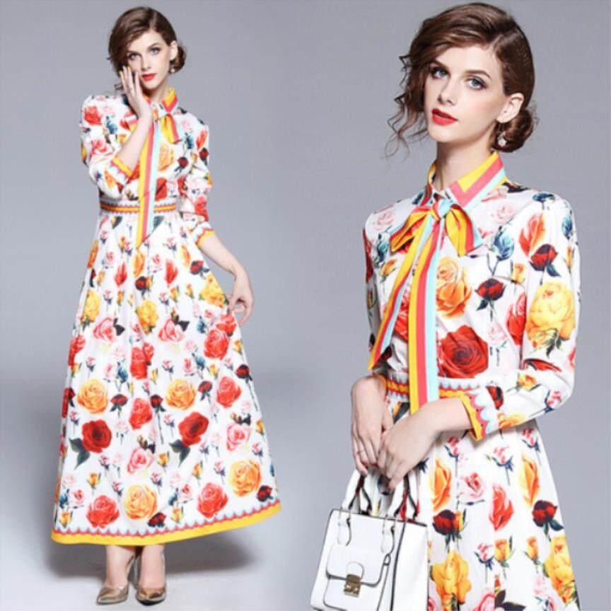 3bd2faf672083 European 2018 Summer New Women s Lapel Waist Waist Rose Floral Print Long  Dress