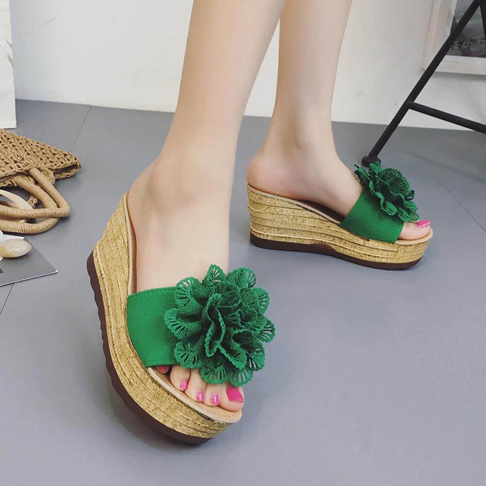 Summer Floral Platform Waterproof Women Sandals Wedge Sandals Slippers Shoes - intl
