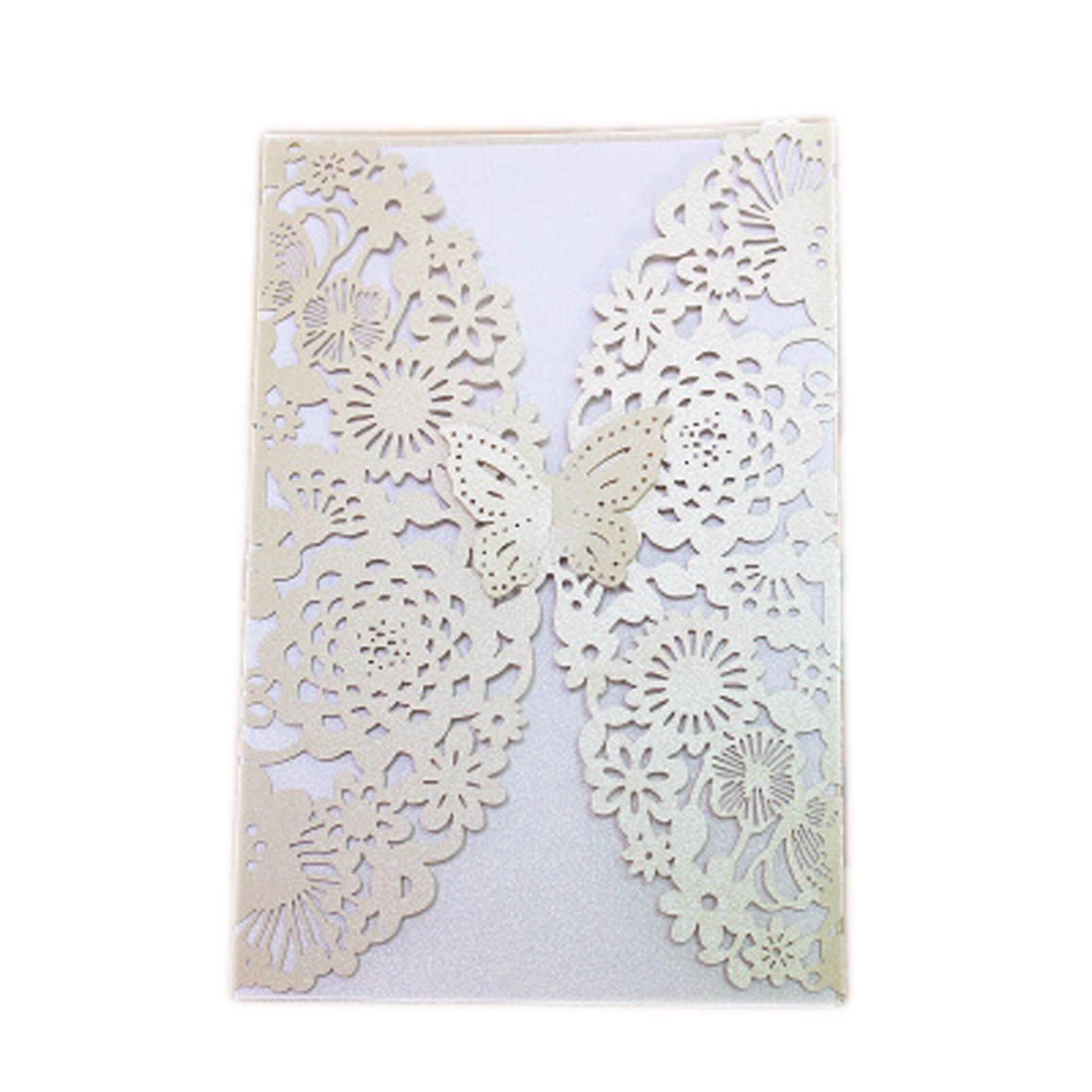 Hình ảnh Fancyqube 2Pcs Delicate Carved Butterflies Romantic Wedding Party Invitation Card H04 - intl