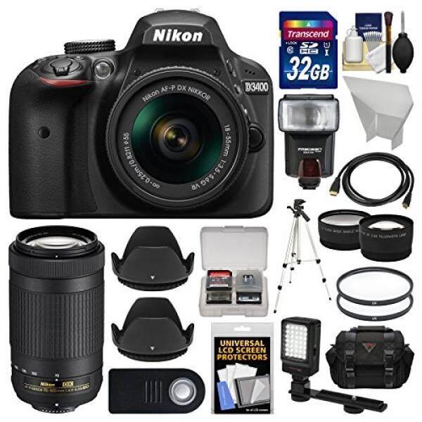 Nikon D3400 Digital SLR Kamera 18-55 Mm VR & 70-300 Mm DX AF-P Lensa 32 GB Kartu + Case + Flash + Lampu Video + Tripod + Tele/Lensa Wide Kit
