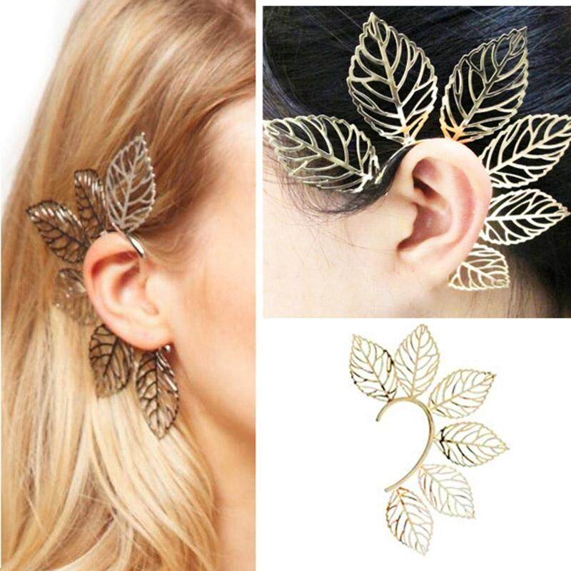 B-F 1 Pc Women Earrings Vintage Punk Rock Gold Plated Leaves Ear Clip Cuff Hanging Decoration