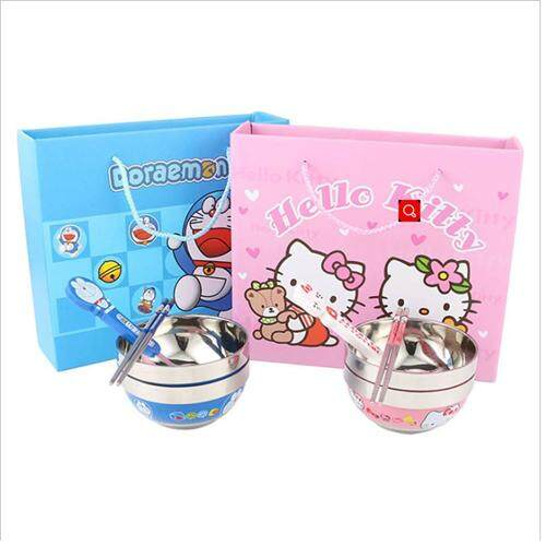 (Doraemon)4 In 1 Baby Stainless Steel Cartoon Bowl , Spoon and Chopstick set