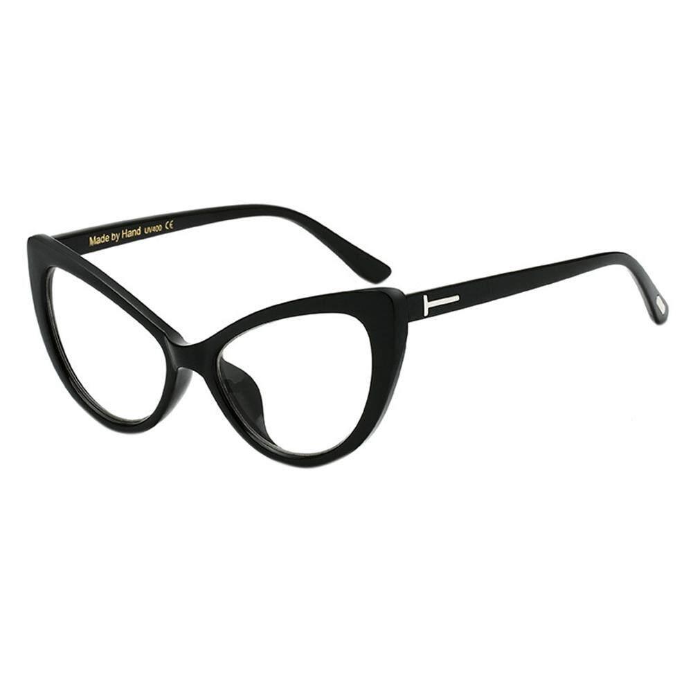 Mata Kucing Mode Desain Kacamata Frame Anti-uv Lensa PC Sun Kaca Warna: Hitam