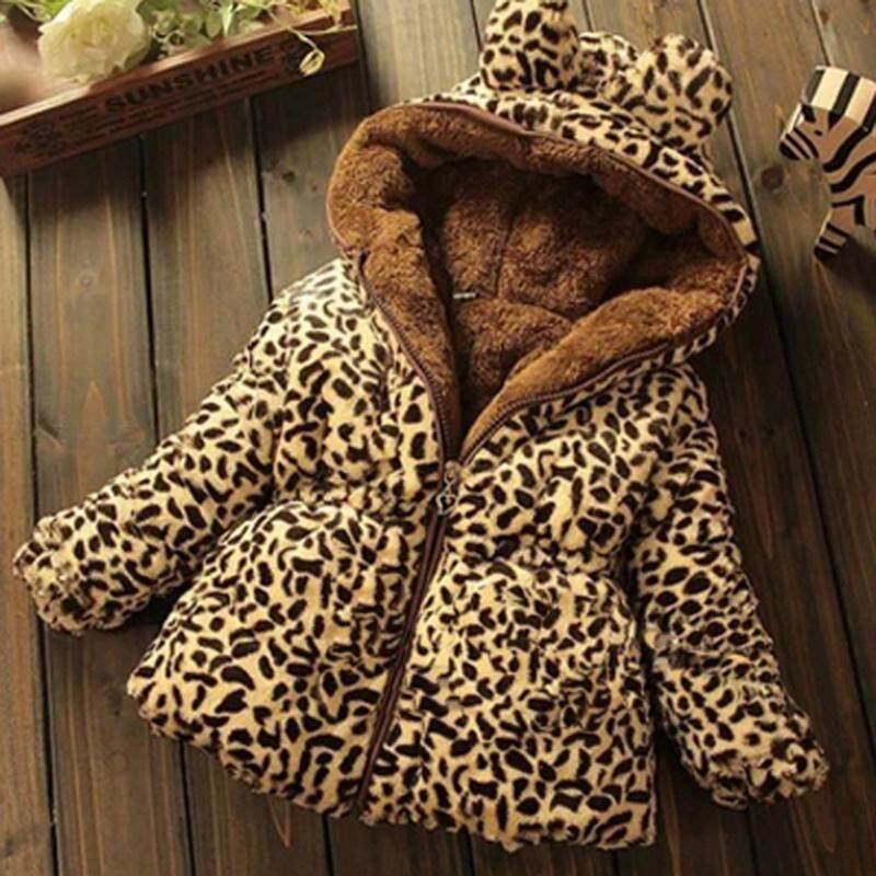 75e07eebd ❤️Cutiebaby Winter Toddler Baby girls Warm Hooded Coat Leopard Outerwea kids  Jacket Clothes