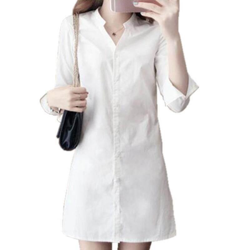 Vgobuy ผู้หญิงเสื้อเชิ้ตลำลองชุดสาวแฟชั่นแขนยาวสีขาว V เสื้อแขนยาวบาง.