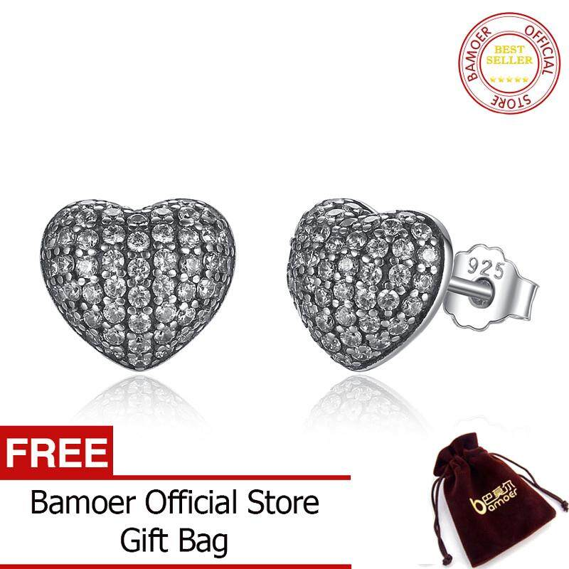fc028308a BAMOER Free Shpping Zirconia Brincos 925 Sterling Silver In My Heart Pave  Stud Earrings, Clear
