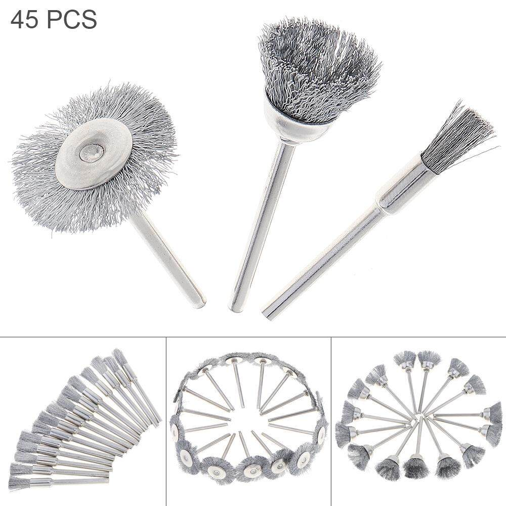 45pcs/set Silver Stainless Steel Wire Brushes with Bowl-type Head and 3mm Shank Diameter for Polishing / Rust Removal - intl