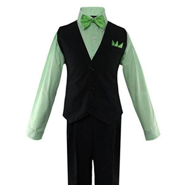 Luca Gabriel Toddler Boys 5 Piece Vest Shirt Bow Tie Pant and Hanky Set - Green/Black - 2t