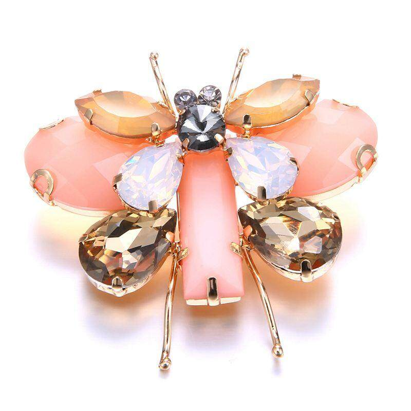 Cute Animal & Insect Butterfly Brooches Pins for Women Crystal Brooch Clothing Accessories Pink