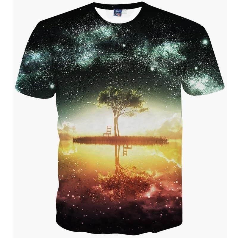 Ruang Galaxy T-shirt Pria/Wanita Harajuku Hip Hop Kaos Bermerk 3d Cetak Pohon Semak Belukar Atasan Musim Panas Tees T Shirt-Intl