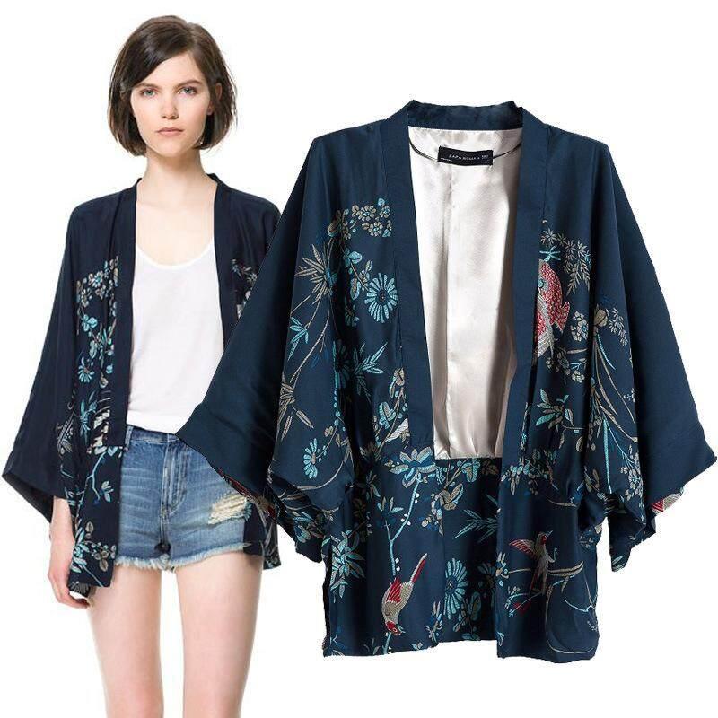YBC Spring/Autumn Irregular Kimono Jacket Phoenix Stamp Kimono Jacket - intl