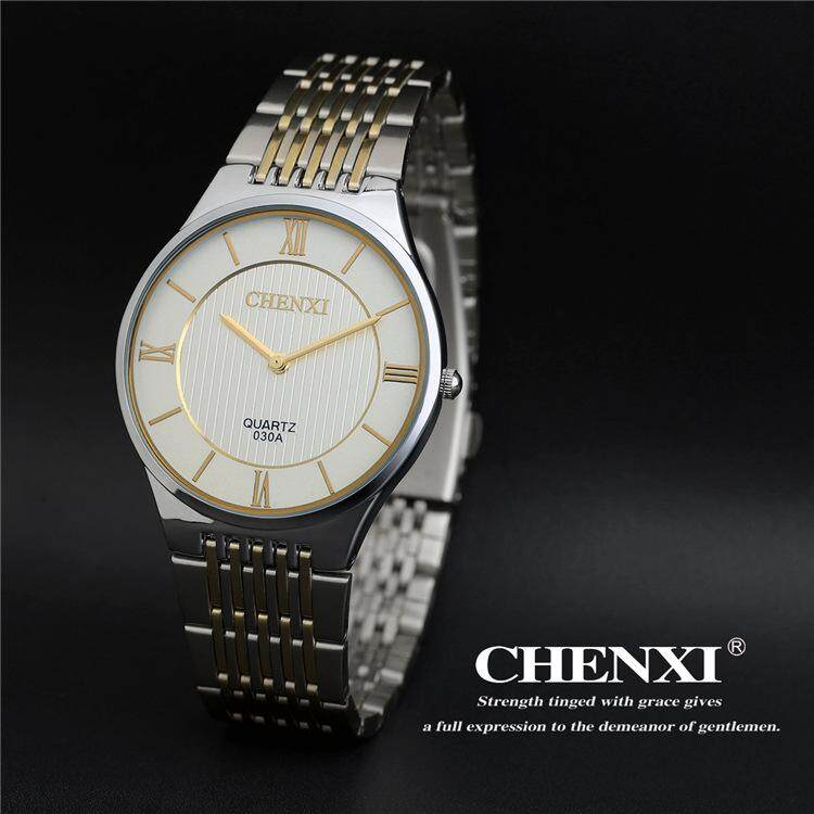 Chenxi CX-030A Merek Leisure Fashion QUARTZ Pria Jam Tangan Baja Tahan  Karat Berwarna Keemasan e6205a508a