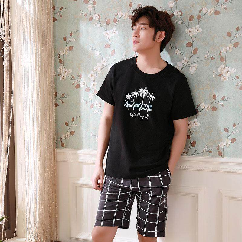 Underwear & Sleepwears Summer Sexy V-neck 100% Cotton Pajama Sets Mens Cosy Short-sleeve Shorts T-shirts Male Homewear Korean Mens Short Sleep Indoor