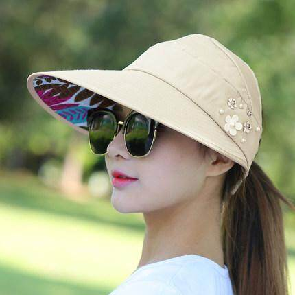 cdcf4780 Moonar Women Summer Fashion Casual Folding Wide Brim Flower Print Beach  Anti- UV Travel Hat