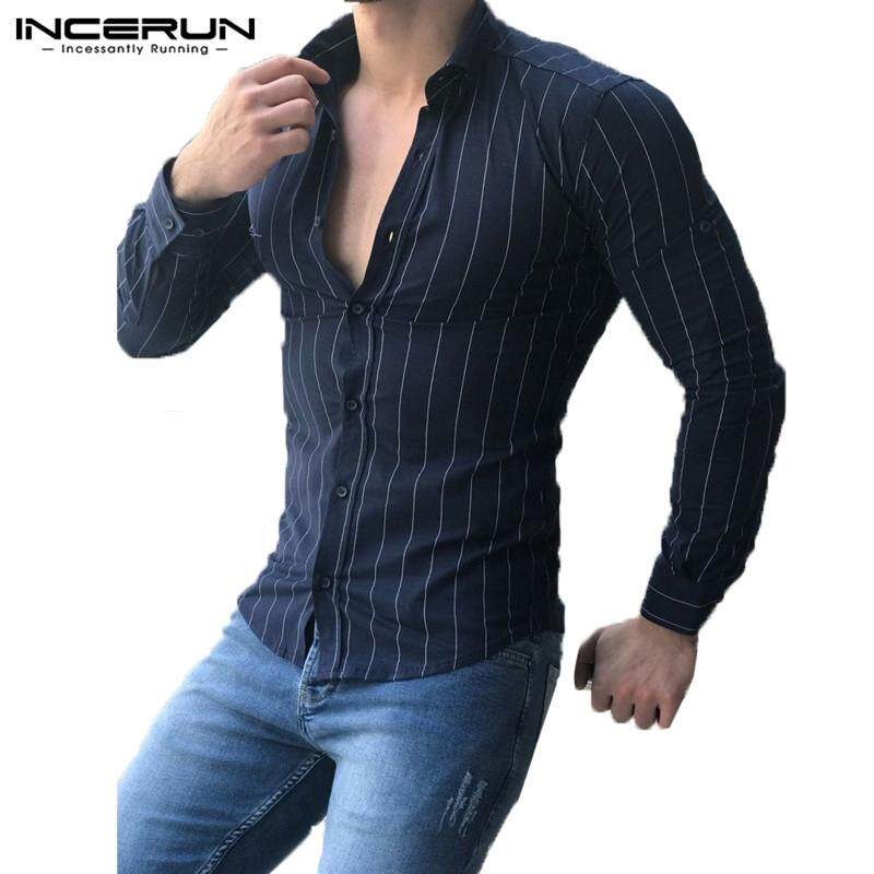 d145b2e14eb INCERUN Mens Fashion Shirts Stretch T-shirt Formal Casual Slim Fit Striped  Tops