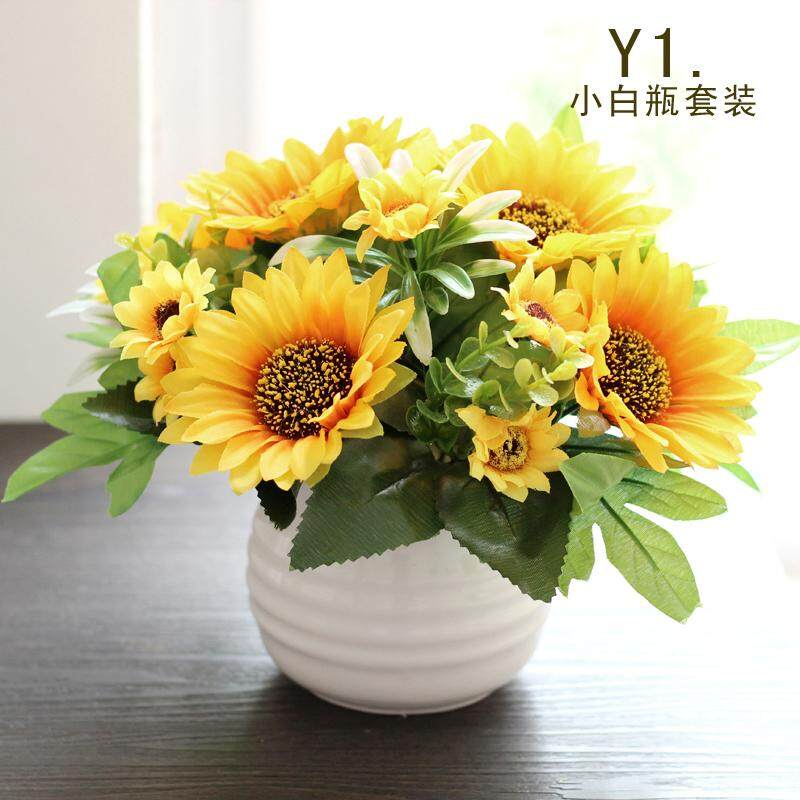 Sunflower Flower Arrangement Artificial Flowers Potted Flower Imitation Flowers Living Room Model Silk Flower Small Bonsai Decoration Trim Pots