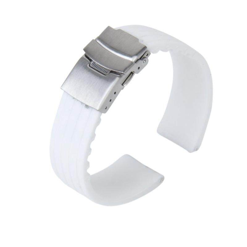 Waterproof Silicone Watch Strap Band Deployment Buckle 22mm---White