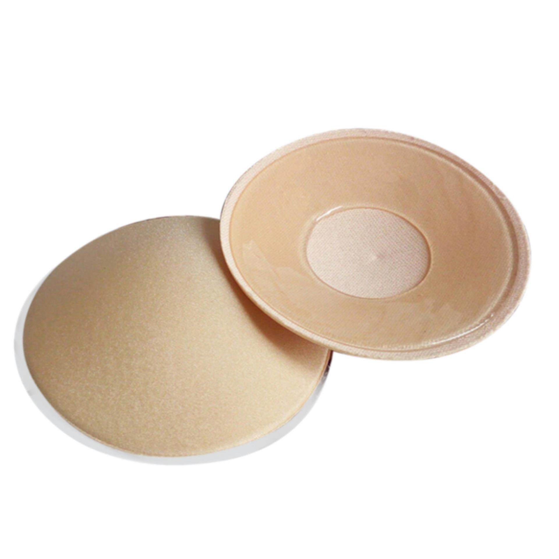 37c6342499 1Pair Bra Pad Reusable Self Adhesive Silicone Breast Pad Chest Stickers  Beige Round