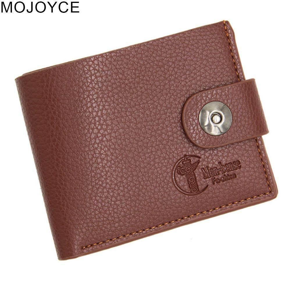 Sohoku Card Holder Lapis Kulit Model Vertikal Magnetik Buka Tengah Gelang Anyaman Tipis Mojoyce Pria Snap Dompet Pendek Perubahan Klip Ramping Tas Koin