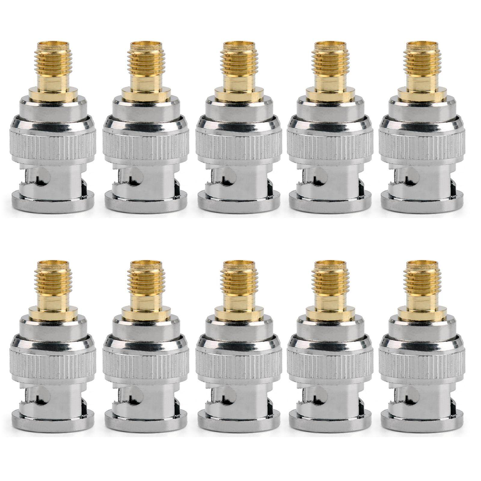 Areyourshop 10Pcs Adapter Converter BNC Male Plug To SMA Female Jack Pin RF Coaxial - intl
