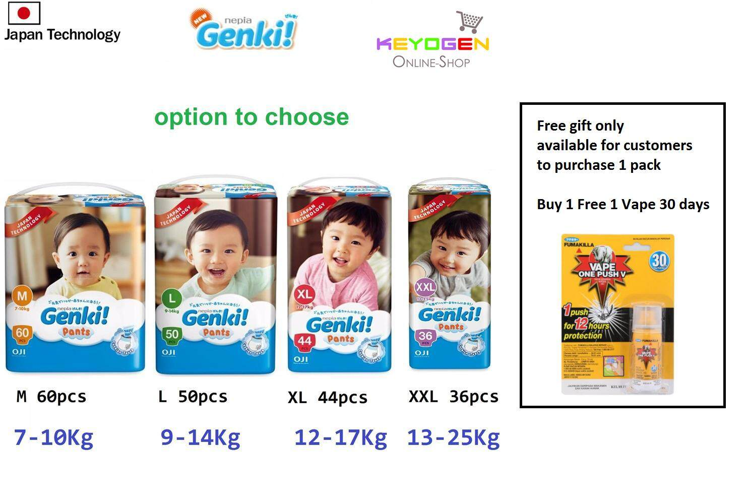 Buy Sell Cheapest Genki Diaper Pants Best Quality Product Deals Nepia L 30 1 Mega Pack Pant Option Mlxlxxl