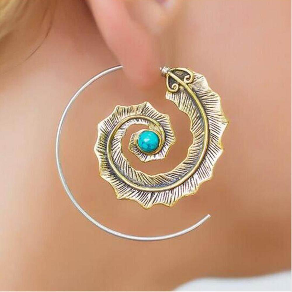 Bzy India Spiral Daun dengan Berlian Imitasi Hijau Anting Bulat untuk Wanita Punk Gold Lingkaran Perak