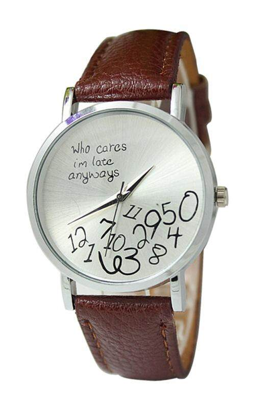 Arab numerals Leatherlet watches Quartz Analogue, Rosa, Unisex Watches, coffee