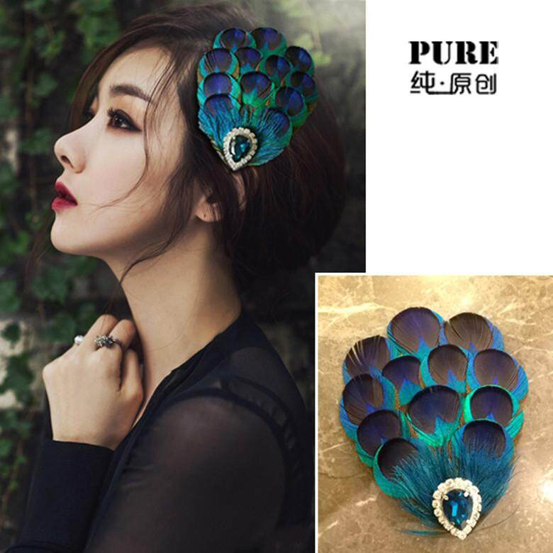 National wind peacock feather hair clips Manual headdress diamond gem dinner hair fast delivery good quality - intl