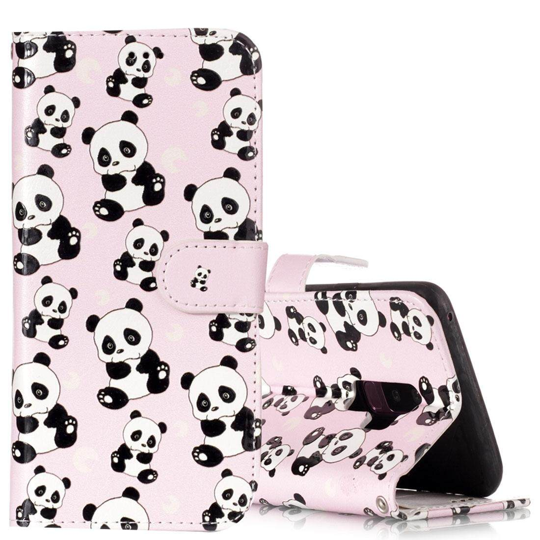 For Samsung Galaxy S9+ Gloss Oil Embossed Panda Pattern Horizontal Flip Leather Case with Holder & Card Slots & Wallet - intl