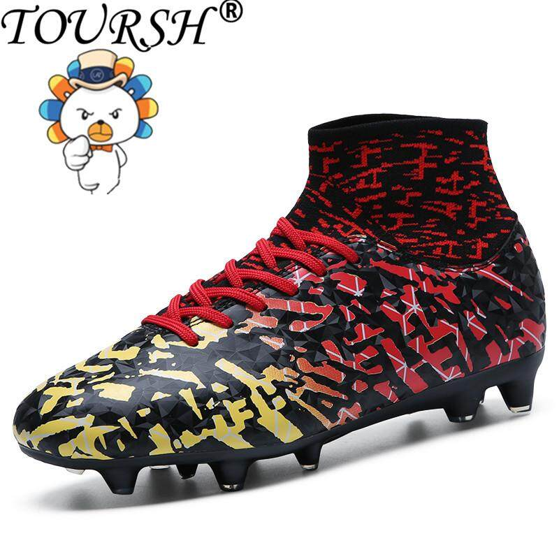 0a1c56e5f TOURSH Kids/Men Soccer Shoes Indoor Futsal Shoes With Socks Professional  Trainer TF Football Boot high ...