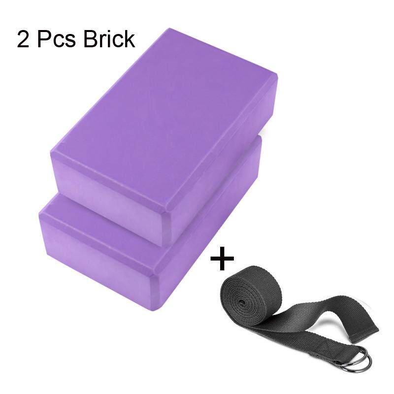2 Pcs Pilates Eva Yoga Block Brick + 1 Pc Yoga Strap Sport Fitness Gym For Sports Exercise Gym Foam Workout Stretching Aid Body Shaping Health Training By Itong.