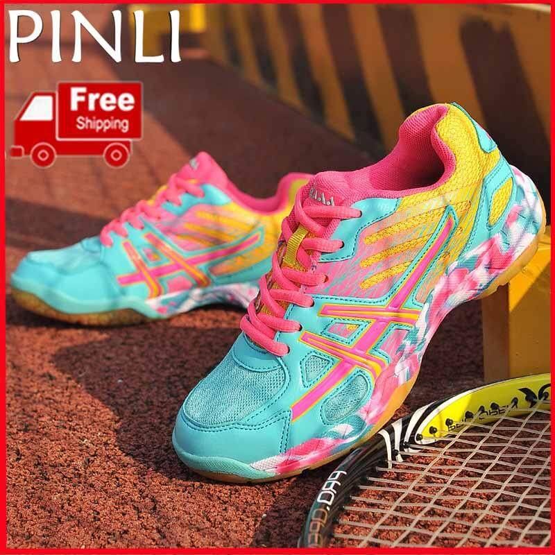 PINLI [Free Shipping] Men And Women Badminton Shoes Lightweight Breathable Training Sports Shoes 32 43