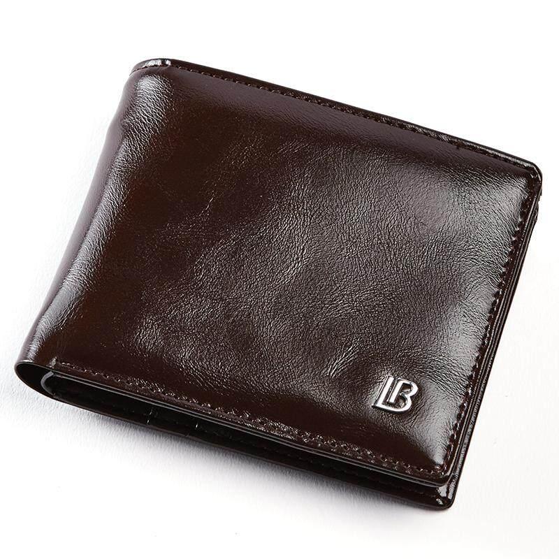 Bostanten Pria Minyak Lilin PU Kulit Tri-Dompet Lipat Ritsleting Tas Koin  Dompet untuk Pria 5b99535a2c