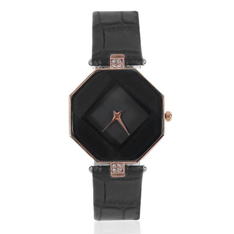 Korean Fashionable Women Diamond Shape PU Leather Strap Quartz Wrist Watch Malaysia