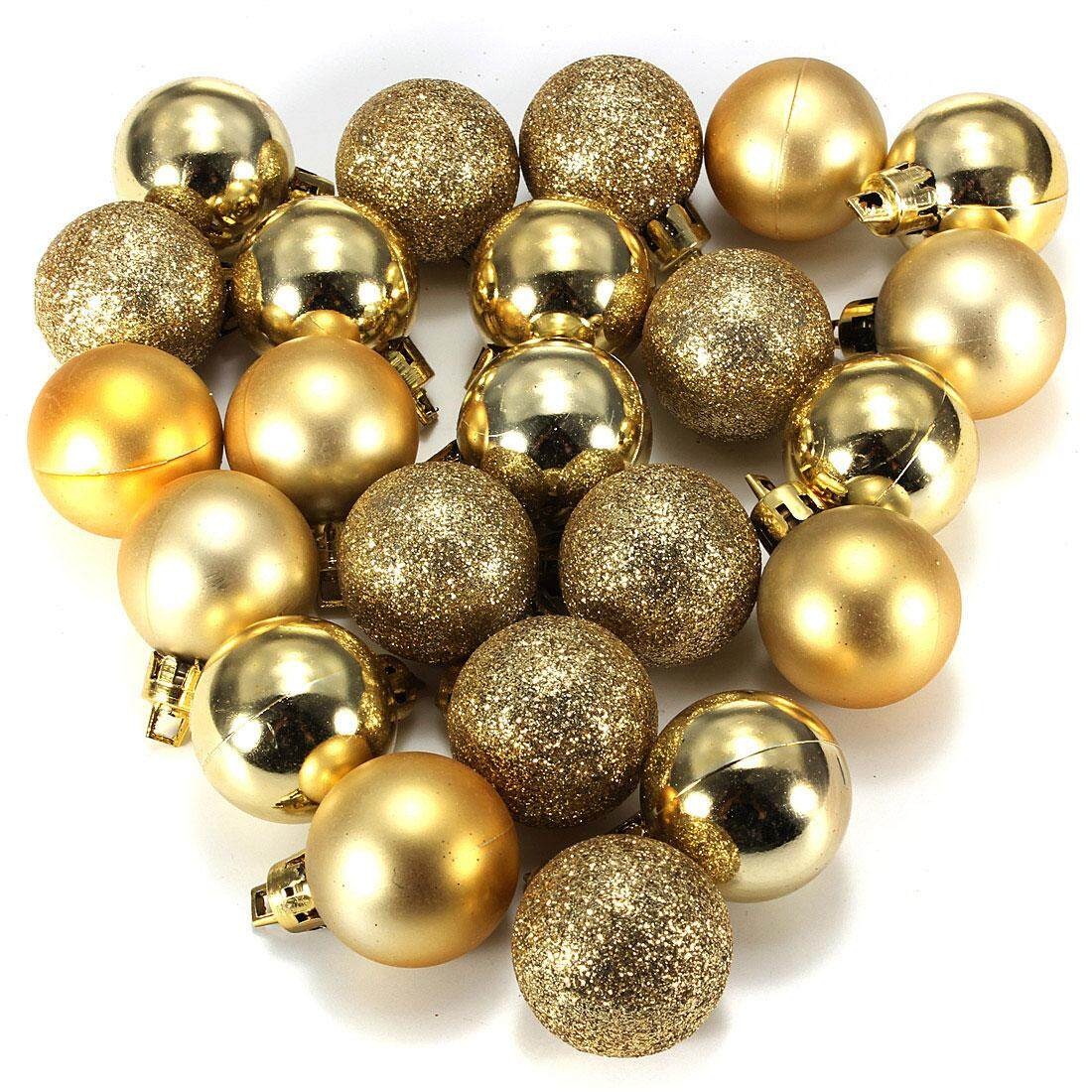 New 24pcs Chic Christmas Baubles Tree Plain Glitter Xmas Decoration Ornament Ball Hot Gold By Glimmer.