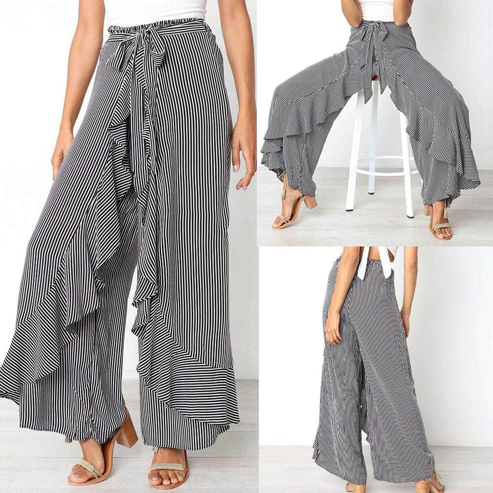 Fashion Women Ladies Summer Striped Wide Leg High Waist Pants Casual Long  Trousers 7724c44c878