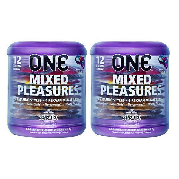 One Mixed Pleasures Condoms 12pcX 2packs (4 Mixed Types Condoms)