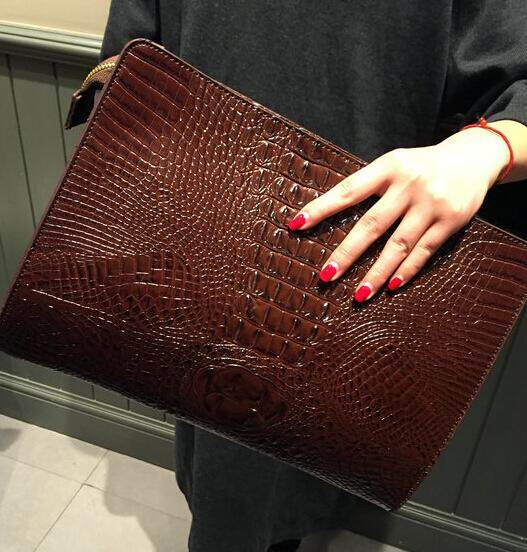 Women Clutch Bag Crocodile Pattern Handbag Envelope Evening Bag