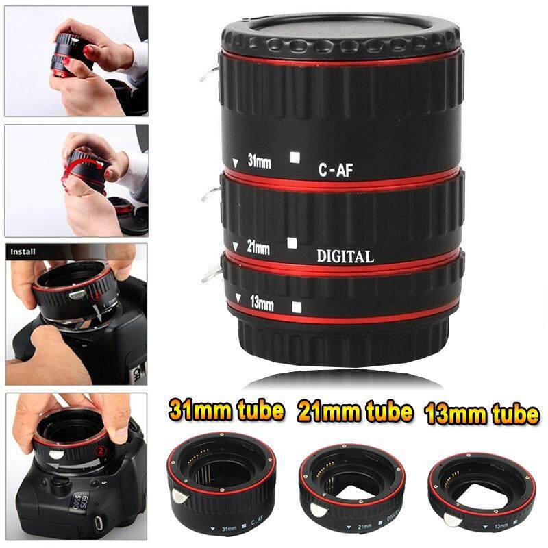 Logam Merah Lensa Makro Fokus Makro Otomatis Ekstensi/Cincin Tabung Set + Lens Body Tutup Belakang untuk Canon EOS EF Canon 1D 1Ds seri 7D 5D 5 DMarkII 5 DMark III Dll Lensa