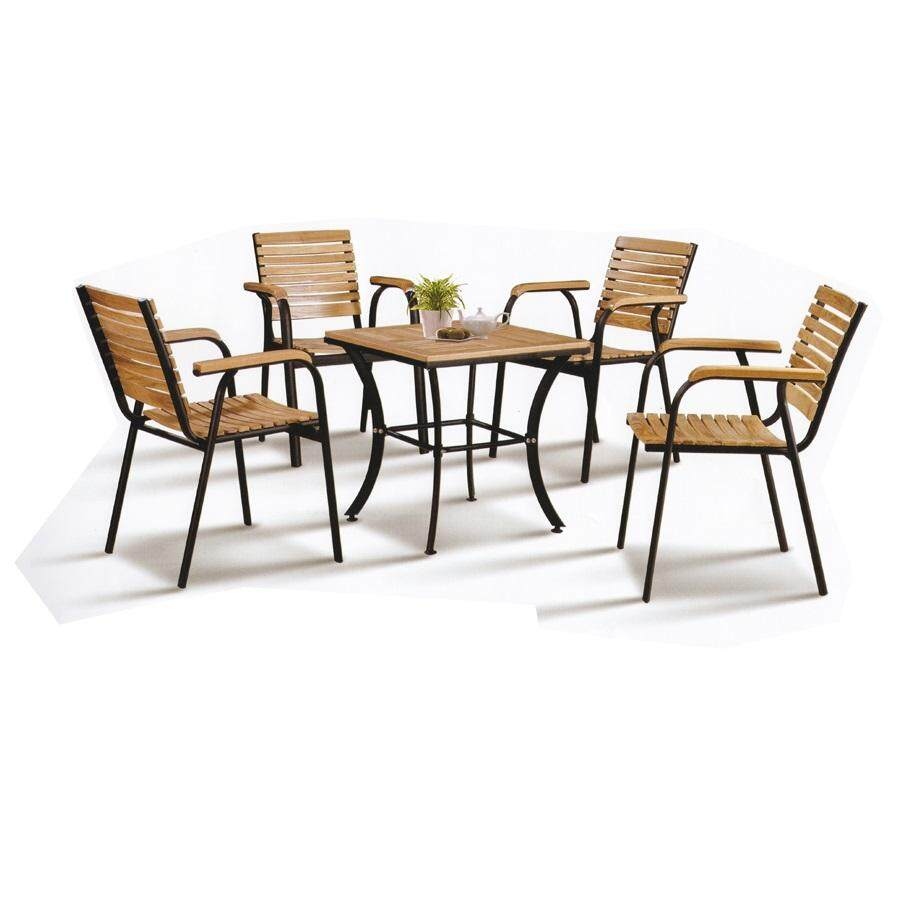 Solid Wood Outdoor Dining Set Garden Set Relax 1 Table+4 Chair Lounge Set