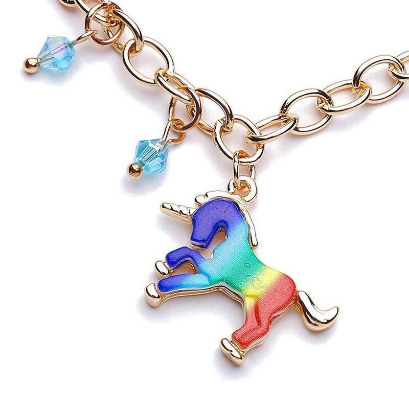 Detail Gambar Linfang Mode untuk Wanita Indah Liontin Unicorn Boutique Gelang Adjustable-Intl Terbaru