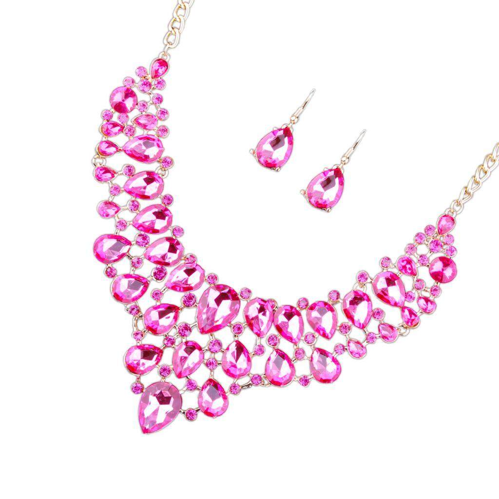 Buy Sell Cheapest Bolehdeals Full Set Best Quality Product Deals 1 Perhiasan Batu Penuh Kristal Imitasi Mewah Pengiring Pengantin Pernikahan Bib Kalung Pernyataan Menjuntai Telinga Stud