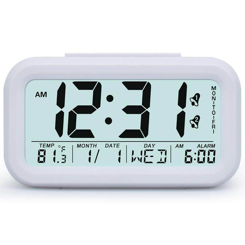 MILU Digital Alarm Clock Student Clock Large LCD Display Snooze Electronic Kids Clock Light Sensor Nightlight Office Table Clock