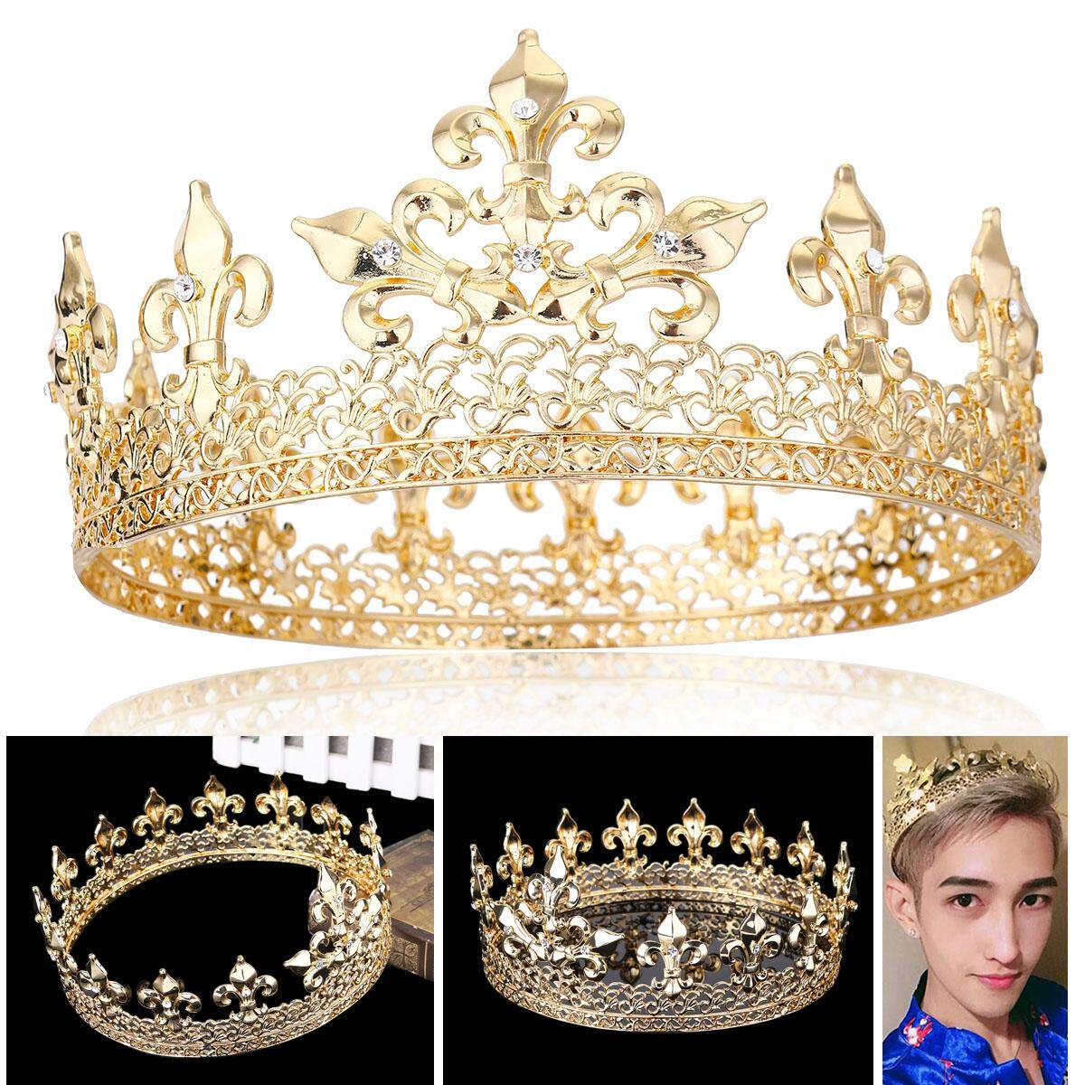 Mens Imperial Medieval Fleur De Lis King Crown Prom Party Gold/silver Plated By Audew.