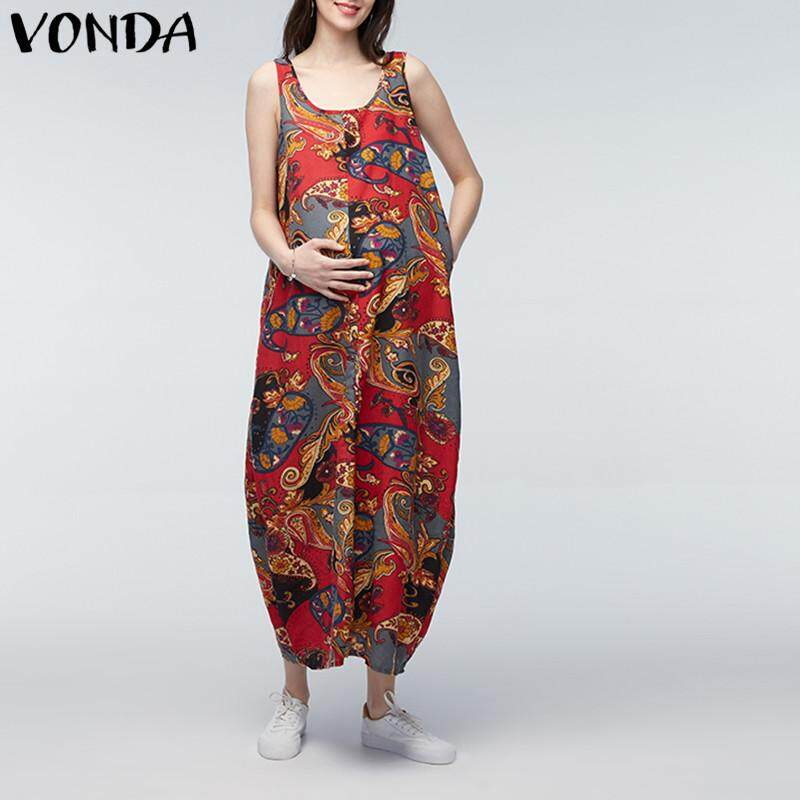 Vonda Maternity Clothing Loose Sleeveless O Neck Print Dress By Vonda Official Store.